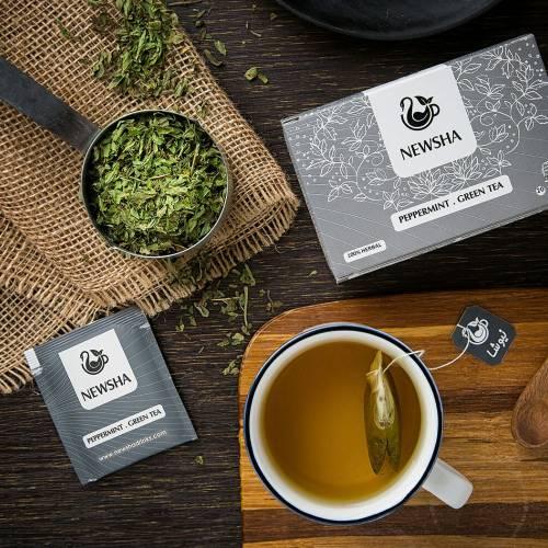 دمنوش نعناع فلفلی و چای سبز نیوشا کیسه ای 20 عددی