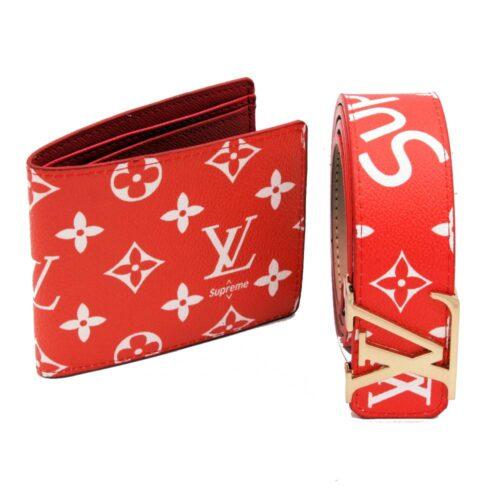 مشخصات هدیه پسرانه ست کیف کمربند لویی ویتون supreme قرمز 2 تکه