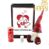 پک هدیه شیک و اسپرت دخترانه و پسرانه ولنتاین عروسک لی لی پوت پا دار + دسته گل شکلاتی