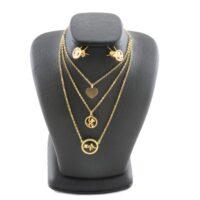 پک هدیه زنانه نیم ست استیل طرح طلا مدل ضربان قلب گردنبند سه زنجیر ضد زنگ و رنگ ثابت