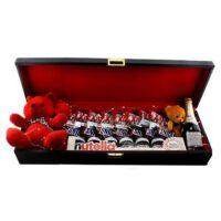 پک ویژه عاشقانه و رمانتیک ولنتاین هدیه خرس و باکس شکلات لاکچری با باکس چرمی