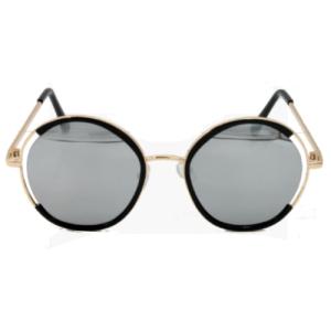 خرید اینترنتی عینک آفتابی دودی کودک و نوجوان دخترانه کد 283 فریم گرد عدسی نقره ای آیینه ای