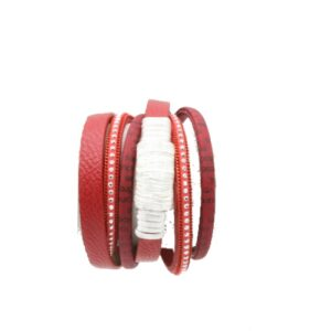 دستبند زنانه چرمی رشته ای قرمز کد006