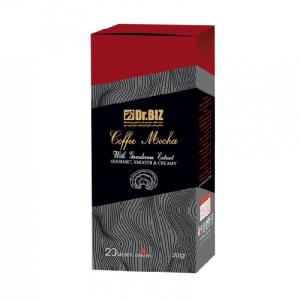 مشخصات ، بررسی فواید و خواص درمانی ، عوارض ، خرید و فروش اینترنتی تک به قیمت عمده کافه موکا با قارچ گانودرما دکتر بیز ۲۰ عددی ترکیب پودر قهوه فوری و شکلات