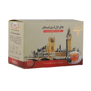 بررسی ، معرفی ، مشخصات و خرید اینترنتی تک به قیمت عمده چای سیاه خارجی کیسه ای با طعم ارل گری بی یو تی ( بادران ) 20 عددی