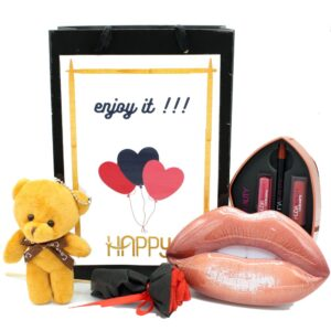 پیشنهاد ایده ، قیمت و خرید اینترنتی پک ( باکس ) هدیه ( کادو ) زنانه و دخترانه آرایشی ست لوازم آرایش لب هدی بیوتی huda beauty کد3 جعبه فلزی شیک و ارزان
