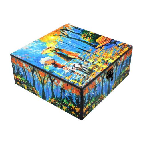 معرفی ، پیشنهاد ، ایده ، قیمت و خرید اینترنتی پک ( باکس ) هدیه ( کادو ) بسته ست پذیرایی کادویی دمنوش گیاهی 12 تایی فله با جعبه چوبی رنگی طرح آبرنگی