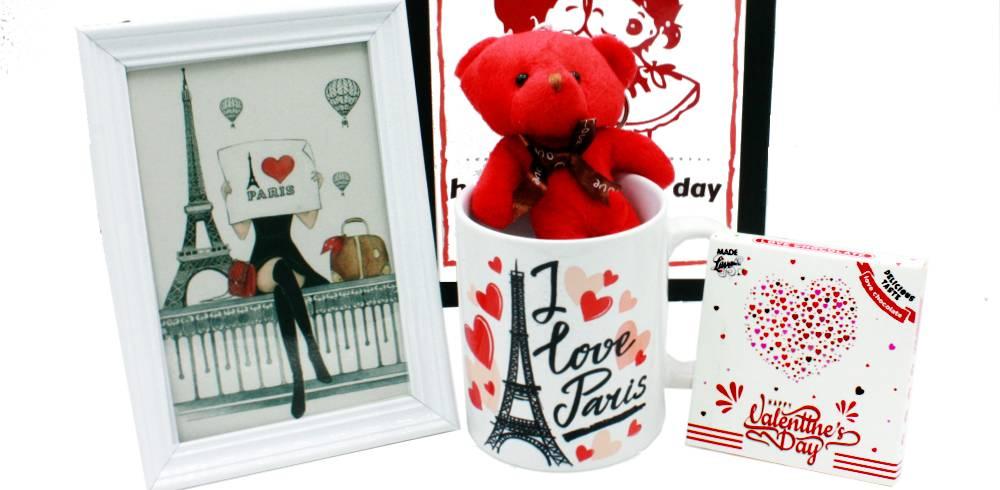 مشخصات هدیه دخترانه ولنتاین پک عاشقانه مدل پاریس