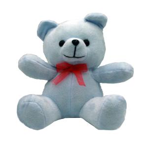 عروسک خرس تدی آبی روشن پسرانه مدل نشسته 35 سانتی
