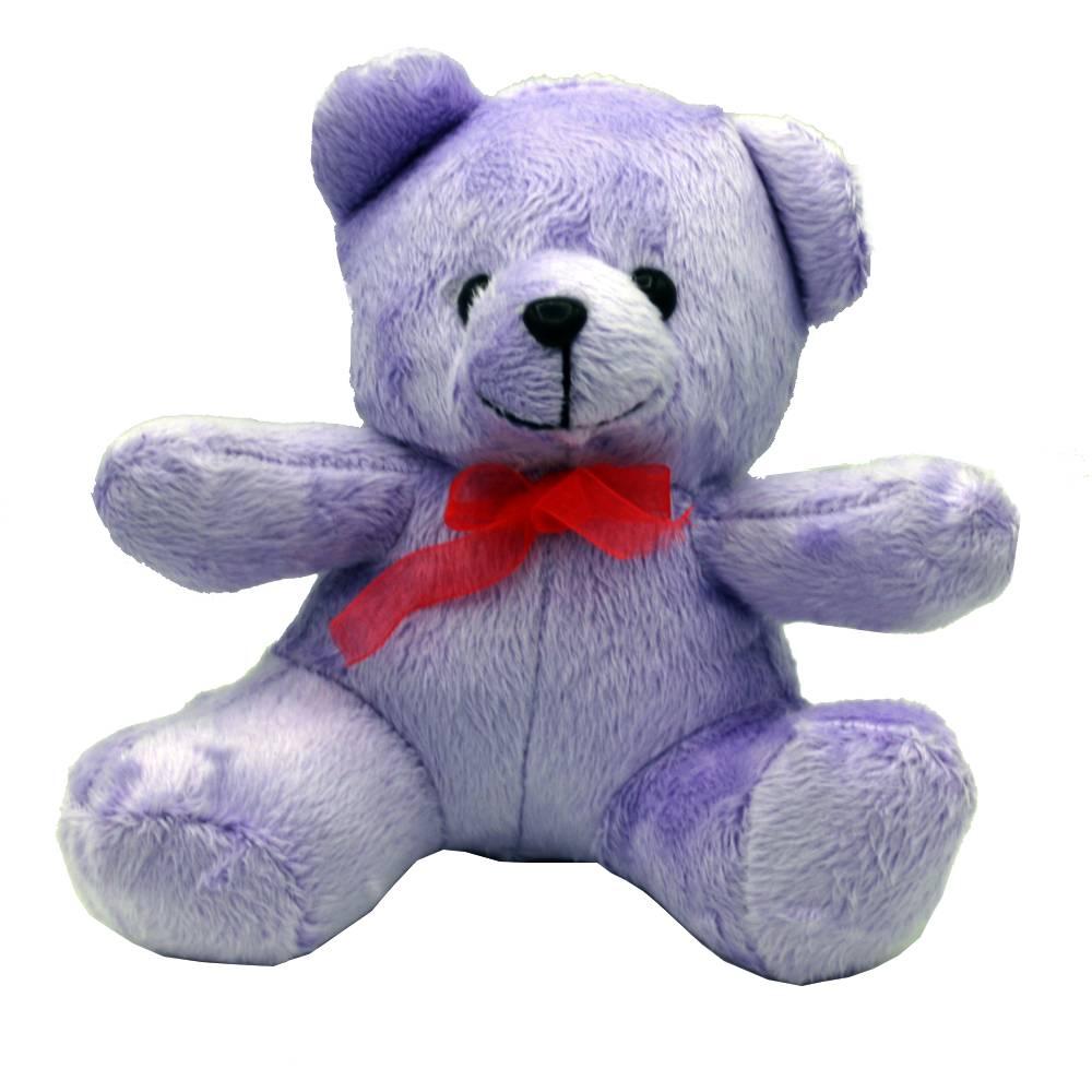 عروسک خرس تدی بنفش مدل نشسته 35 سانتی