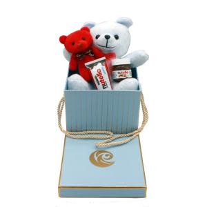 خرید پک هدیه شیک ولنتاین استقلالی خرس آبی + شکلات نوتلا
