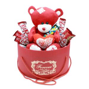 هدیه ولنتاین پک عاشقانه خرس مهربان قرمز 9 تکه