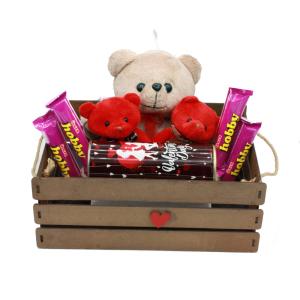 هدیه ولنتاین پک عروسک خرس تدی قهوه ای + شکلات 9تکه
