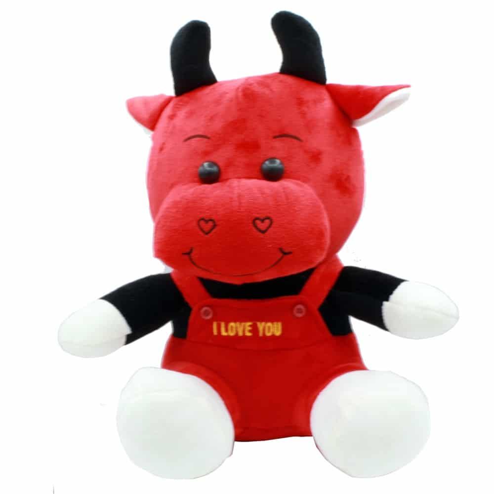 عروسک گاو قرمز نشسته شاخ دار پولیشی 2 سایزی