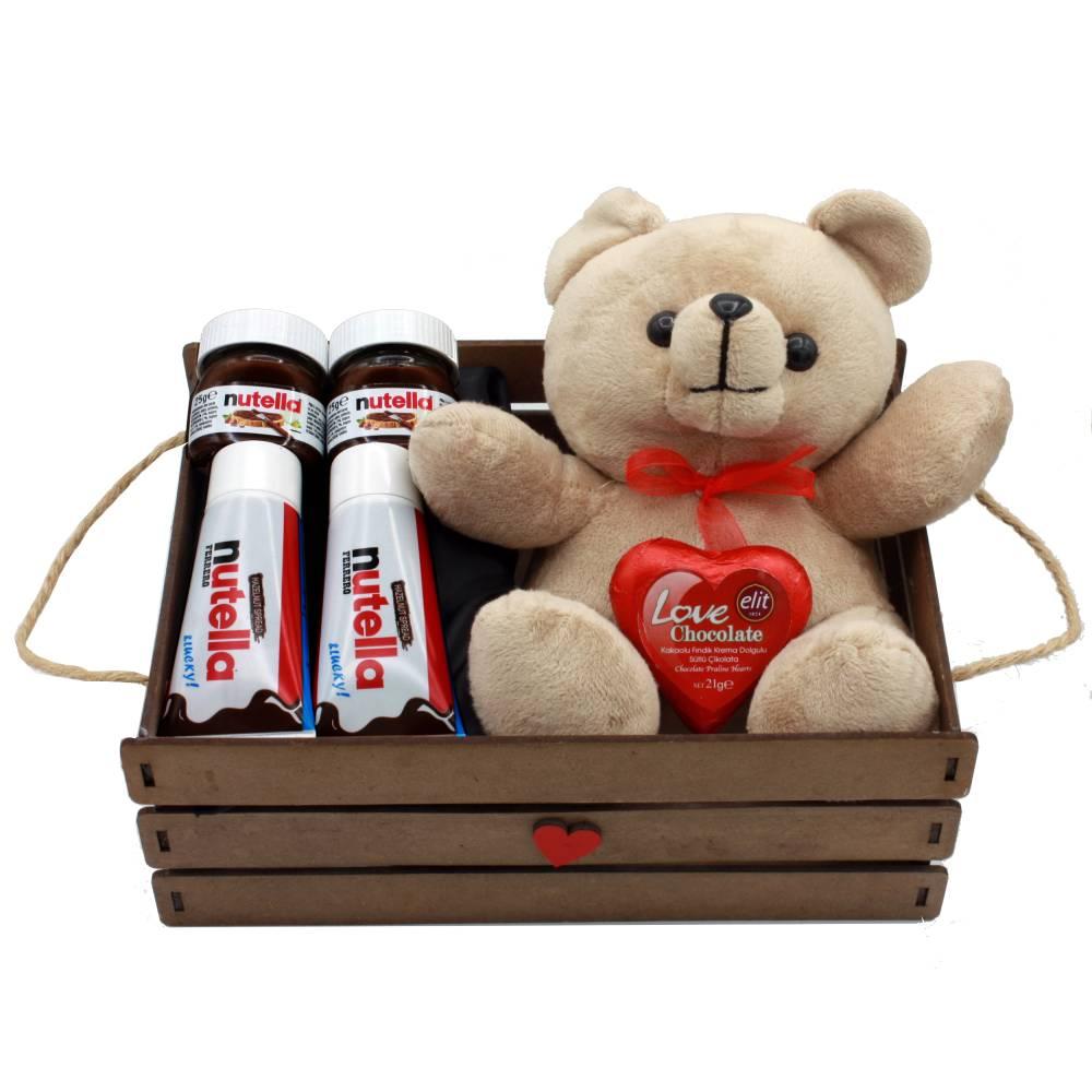 هدیه ولنتاین خرس تدی + شکلات نوتلا مدل لاو کد44