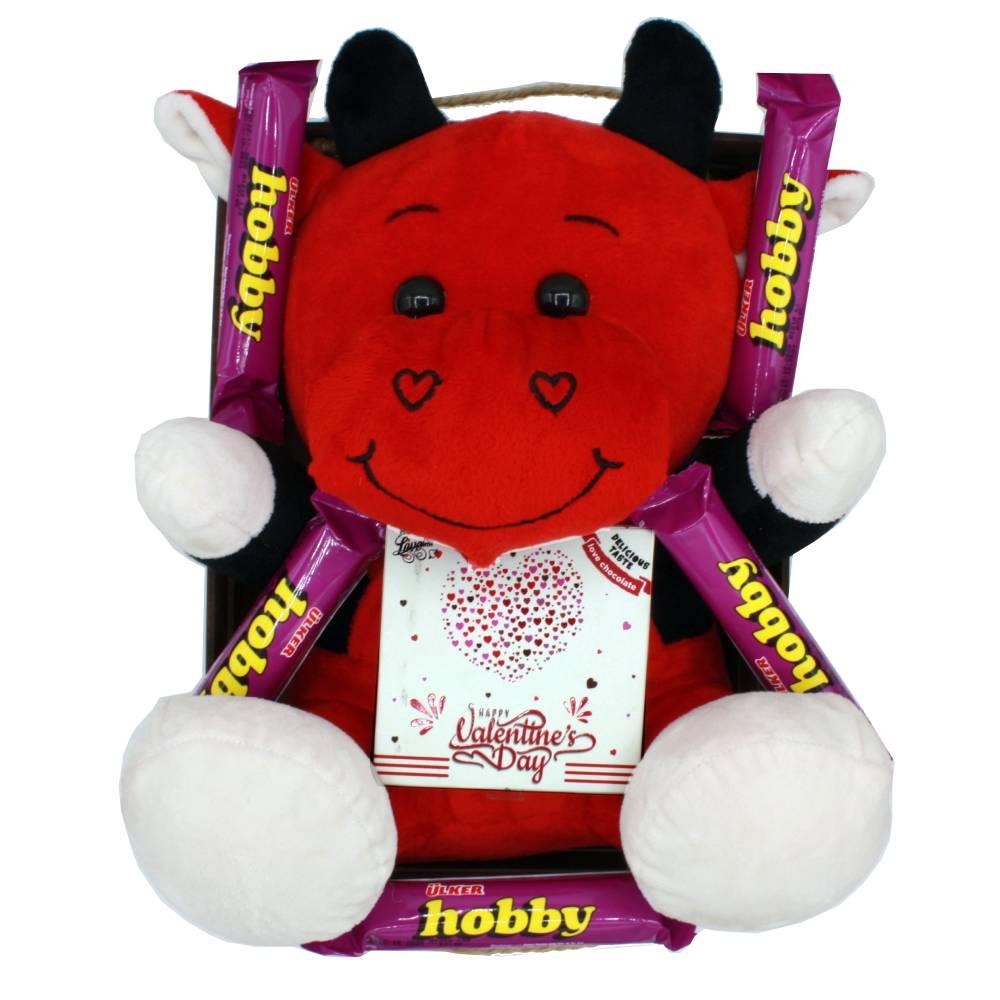 هدیه ولنتاین پک عروسک گاو قرمز 45 سانتی
