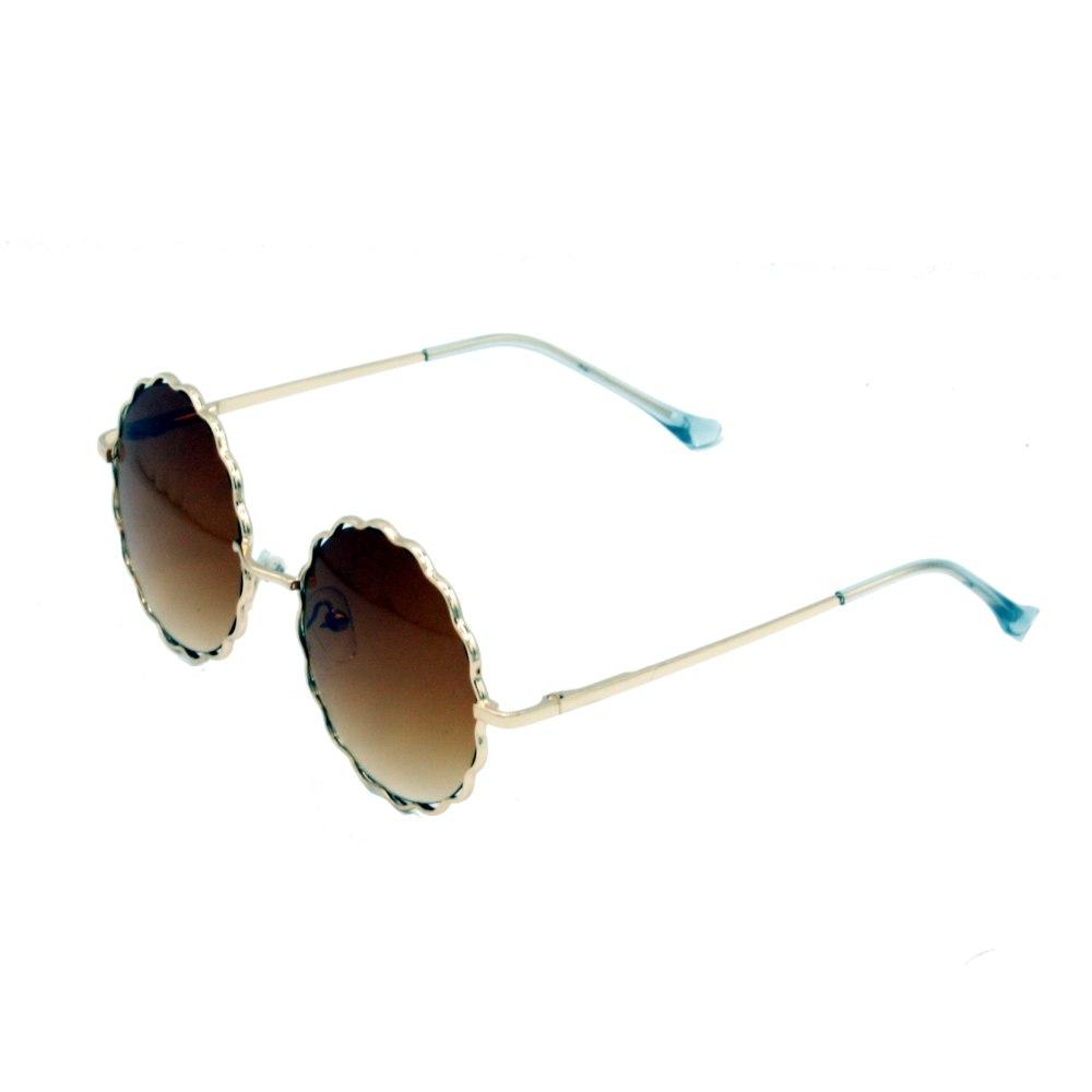 عینک آفتابی دخترانه بچه گانه گرد عدسی قهوه ای
